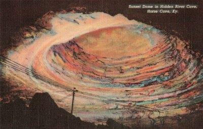 Historic Postcard-Sunset Dome-Hidden River Cave-KY