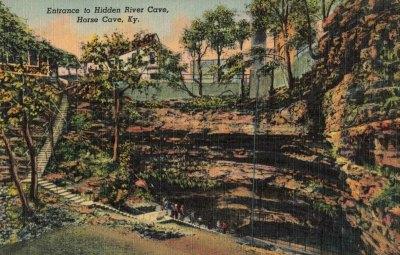 Historic Postcard-Entrance to Hidden River Cave-KY