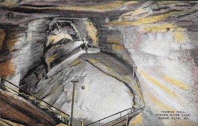 Historic Postcard-Thomas Hall-Hidden River Cave-KY